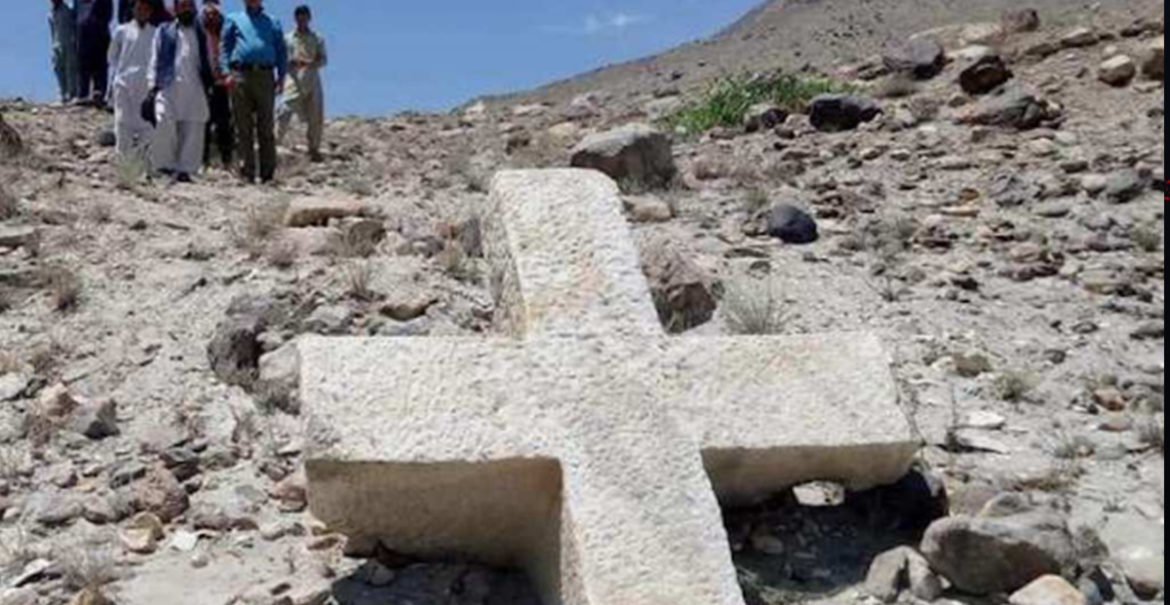 1,200-year-old giant marble cross discovered in northern Pakistan mountains